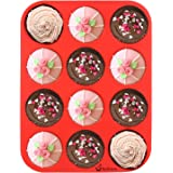 Silicone Muffin Pan, SySrion 12 Cup Premium Cupcakes Baking Pan, Non-stick, BPA Free Food Grade Silicone Mold Material - Dishwasher - Heat Resistant Tins up to 450¡ãF - Microwave Safe - Red