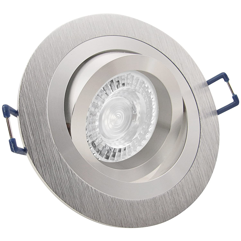 5er Set (3-8er Sets) Einbaustrahler NOBLE 2 (rund) Aluminium; 230V GU10; SMD LED 7,5W = 70W; DIMMBAR; Warm-Weiß; schwenkbar; drehbar; Einbauleuchte Einbauspot Downlight