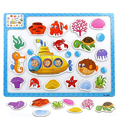 Czemo Puzzles de Madera Magnético Rompecabezas Tablero Juguetes Educativo para Niños (océano): Juguetes y juegos