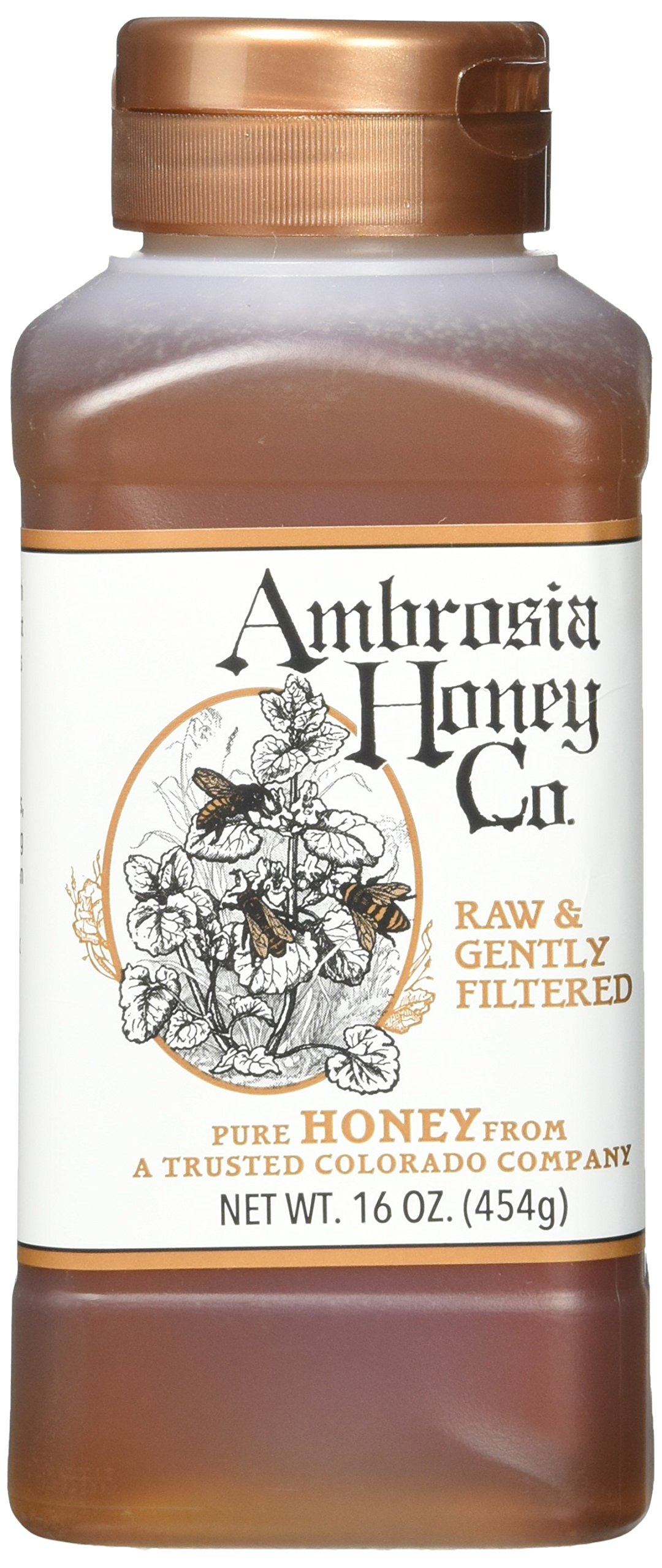 Ambrosia Pure Honey By Ambrosia Honey Co. 16 Ounce Bottles (Pack Of 4) 20