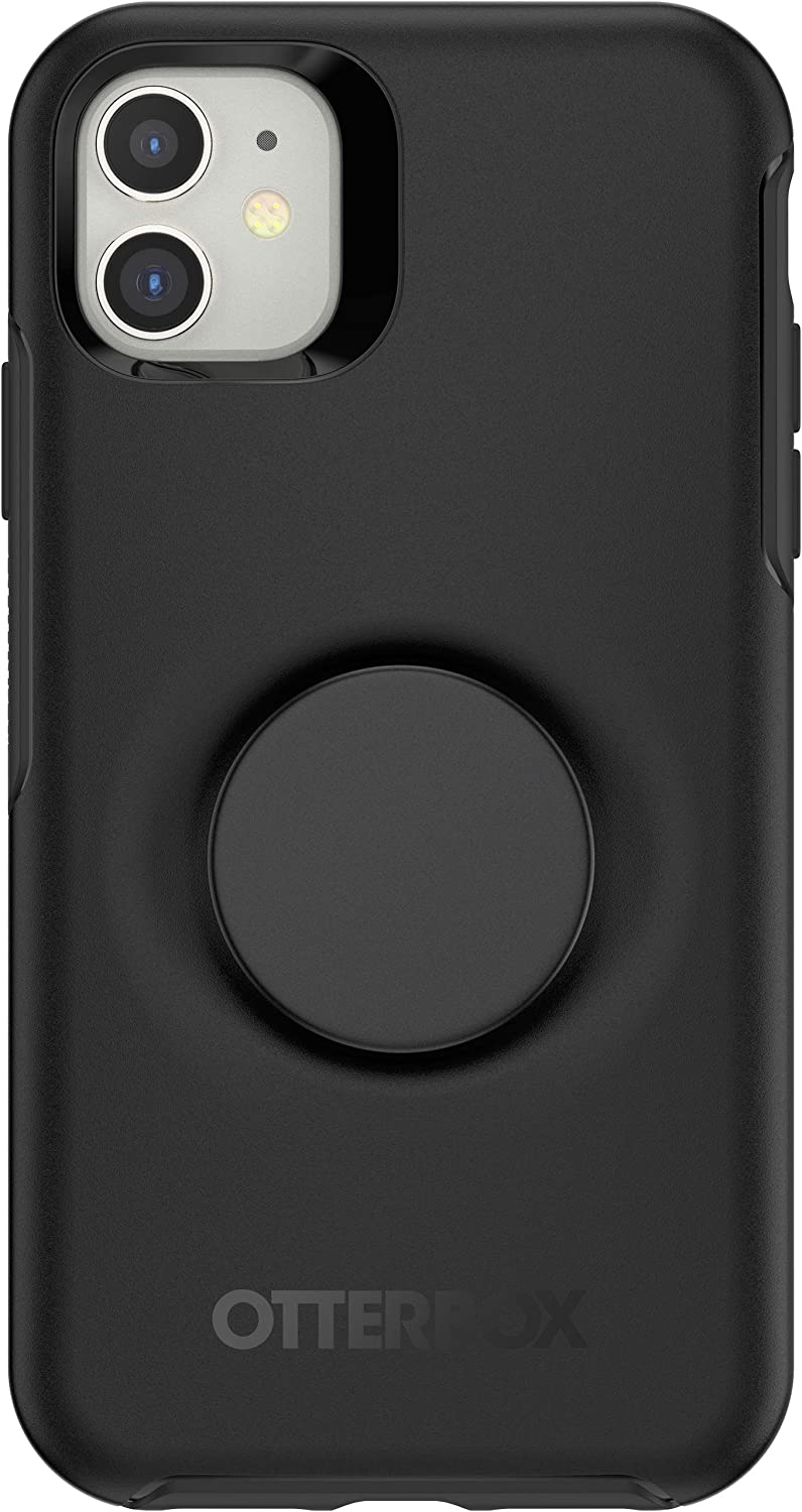 Otter + Pop for iPhone 11: OtterBox Symmetry Series Case with PopSockets Swappable PopTop - Black and Aluminum Black