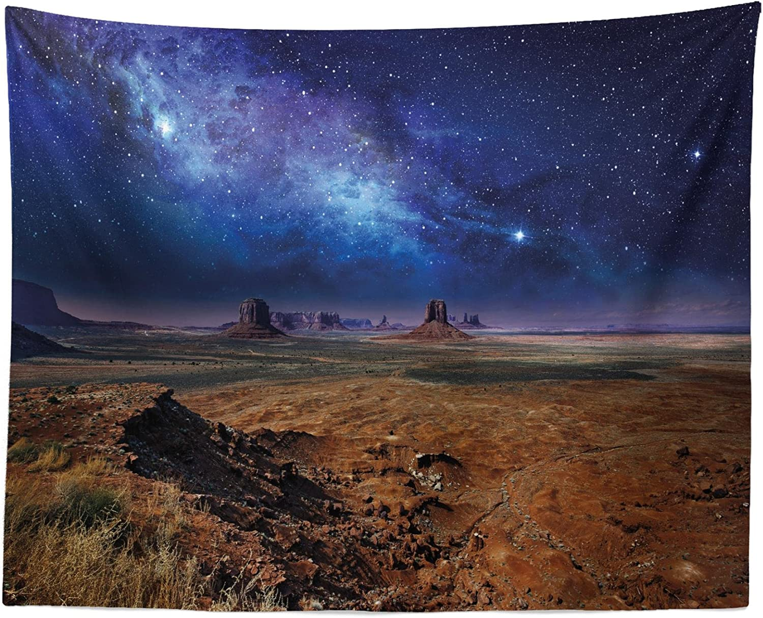 "Lunarable Night Sky Tapestry, Nebula Starry Stars in Desert Monument Valley Utah Arizona USA Landscape, Fabric Wall Hanging Decor for Bedroom Living Room Dorm, 28"" X 23"", Blue Brown"