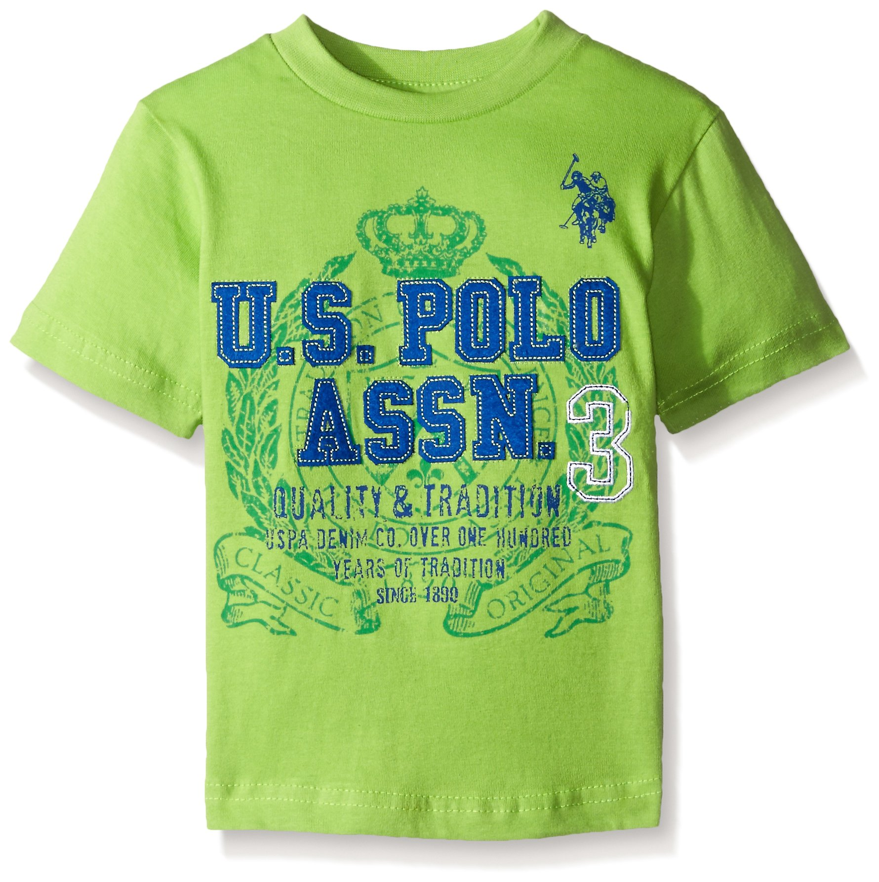 U.S. Polo Assn.. Boys' Crew Neck Iconic Graphic Logo T-Shirt,Summer Lime,18