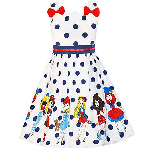 09bede01 Image Unavailable. Image not available for. Color: Sunny Fashion LY81 Girls  Dress Cartoon Dot Bow Tie Summer ...