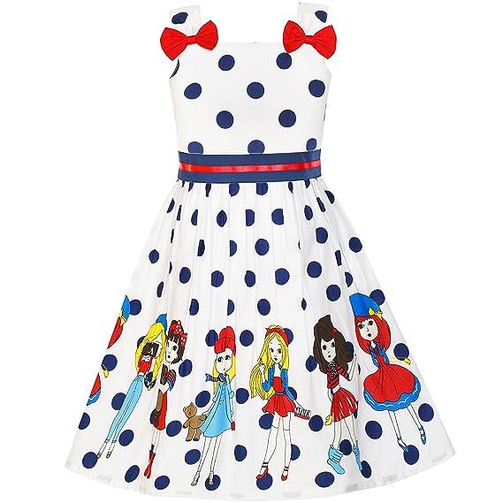 LY81 Sunny Fashion Vestido para niña Cartoon Dot Bow Corbata El verano Sol 2-3