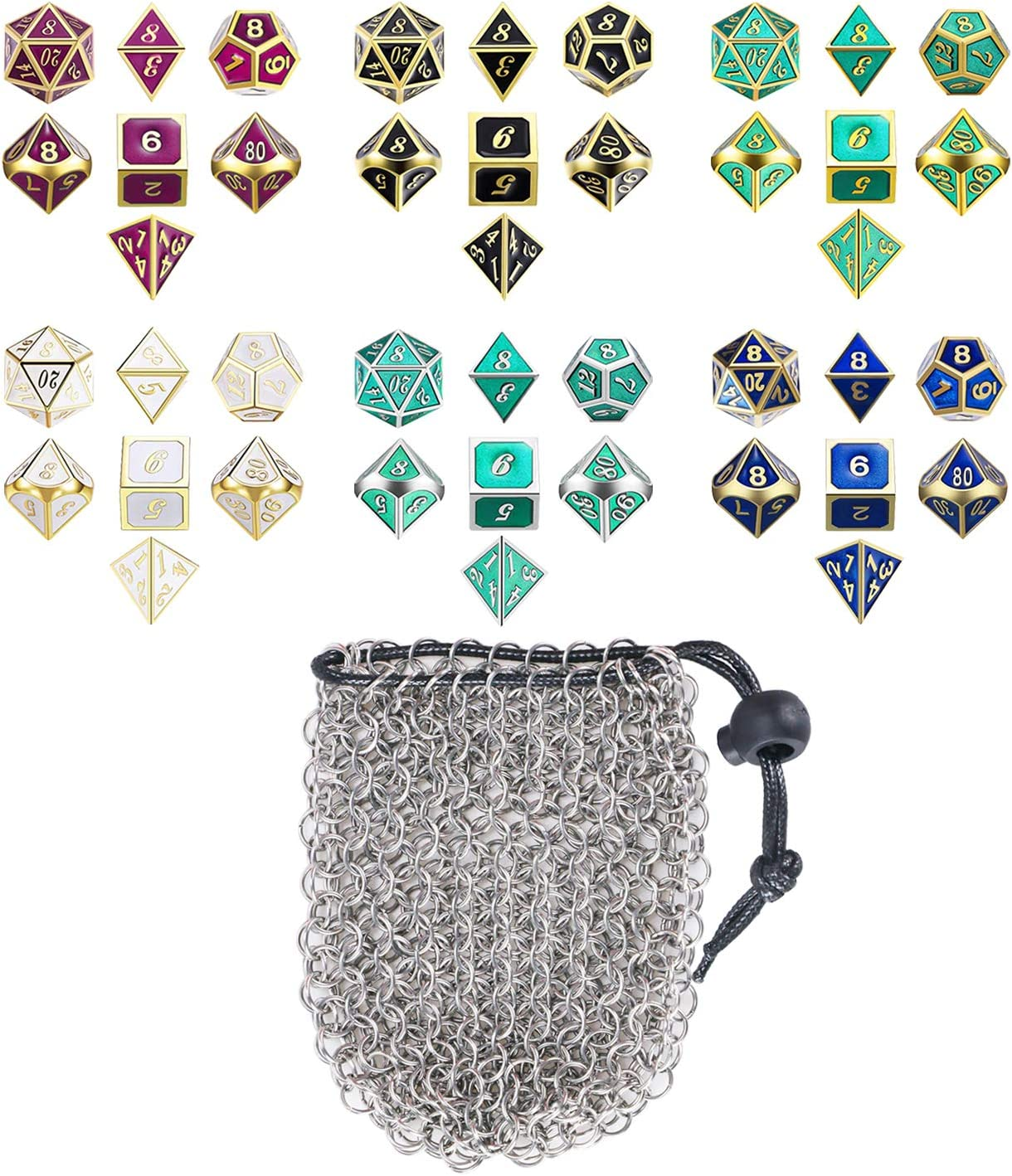 Hold 42 DND Dice, Gold Chainmail D/&D Dice Bag for Dungeons and Dragons Drawstring Stainless Steel Dice Bag Dice Set by YOUSHARES