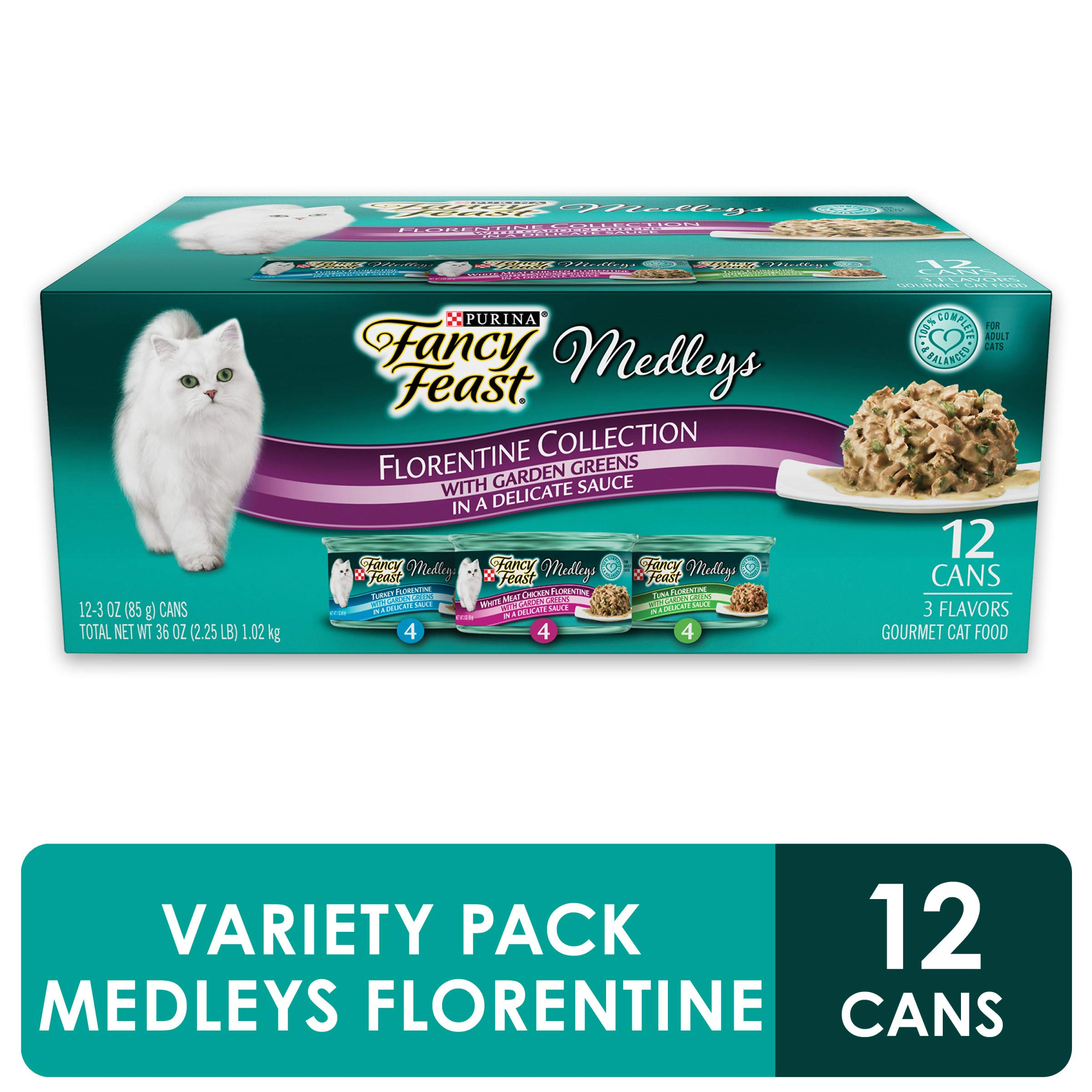 Purina Fancy Feast Gravy Wet Cat Food Variety Pack, Medleys Florentine Collection - (2 Packs of 12) 3 oz. Cans by Purina Fancy Feast