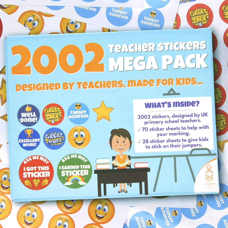 Migliori adesivi premio per insegnare Nuovo design Book /& Jumper Reward Stickers | 2002 x Adesivi per insegnanti per bambini