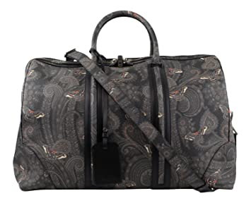 9858da1eec Image Unavailable. Image not available for. Color: Givenchy Men's  Gray/Black Leather Paisley Weekender Bag
