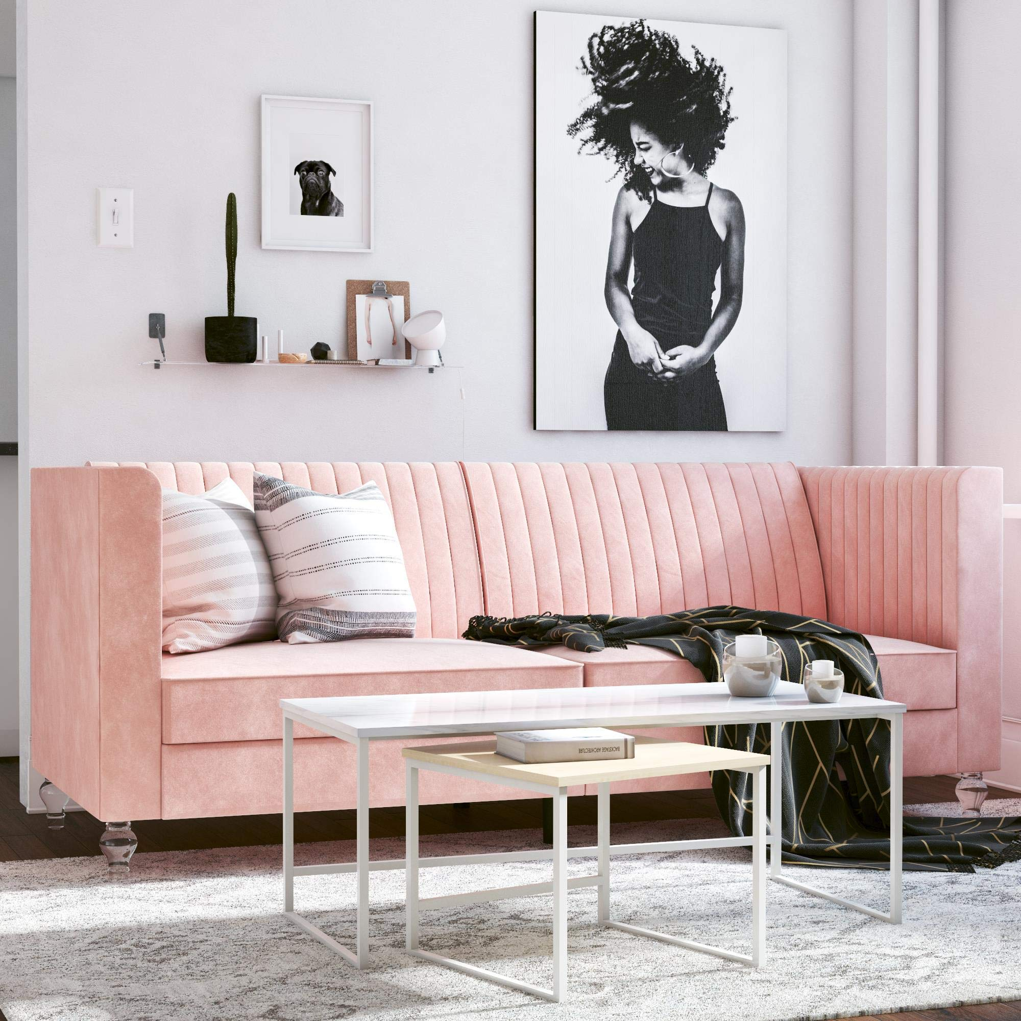 CosmoLiving by Cosmopolitan Arabelle Futon, Light Pink by CosmoLiving by Cosmopolitan