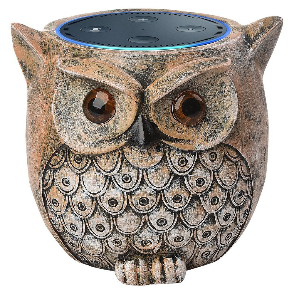 PAIYULE Speaker Stand Case for Amazon Echo Dot (2nd or 1st Generation). Alexa Echo Dots Owl Statue Crafted Guard Station(Brown)