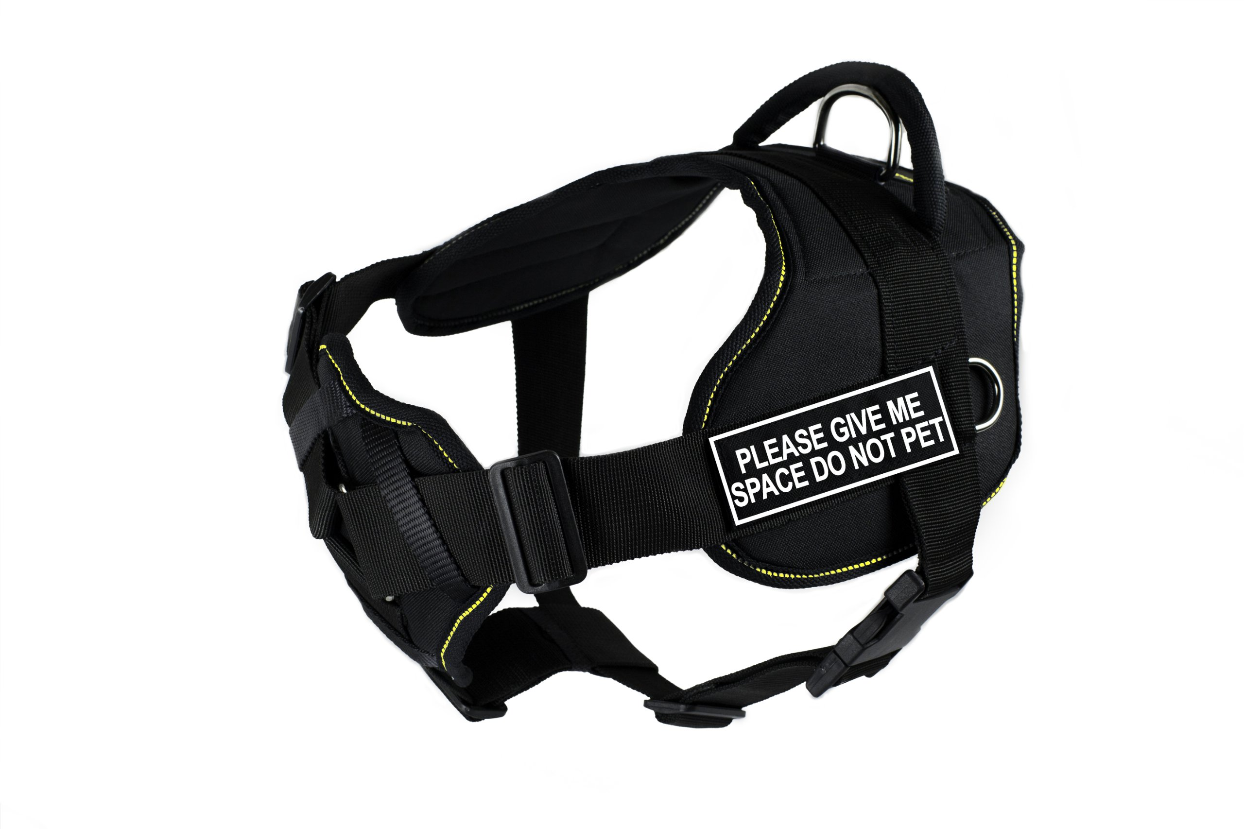 Dean & Tyler Fun Harness with Padded Chest Piece, Please Give Me Space Do Not Pet, Large, Black with Yellow Trim