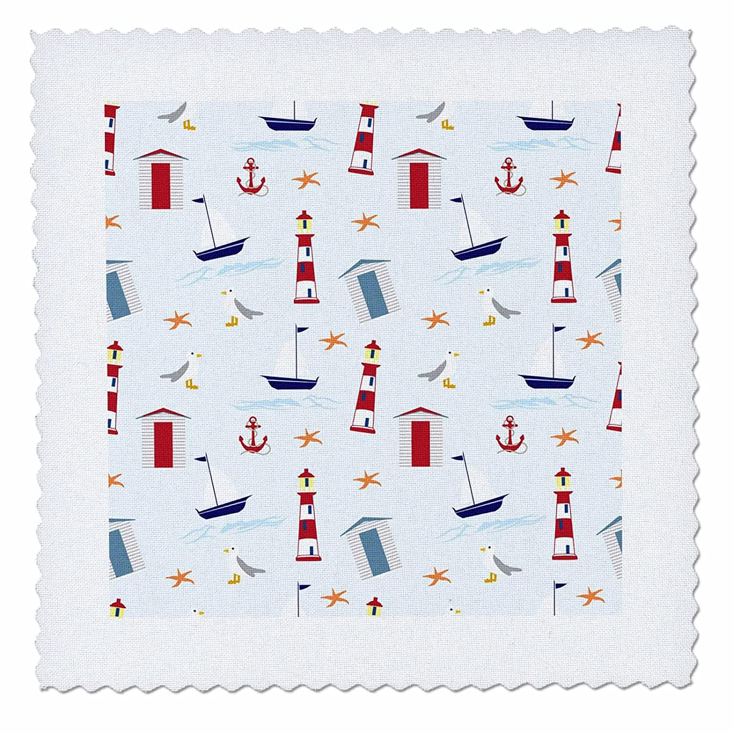 3dRose Sven Herkenrath Art - A Cute Pattern of Boats Light Houses and Anchors on Blue Background - 18x18 inch quilt square (qs_280422_7)