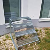 4 Stufen Standtreppe Stahltreppe freistehend Breite 80cm