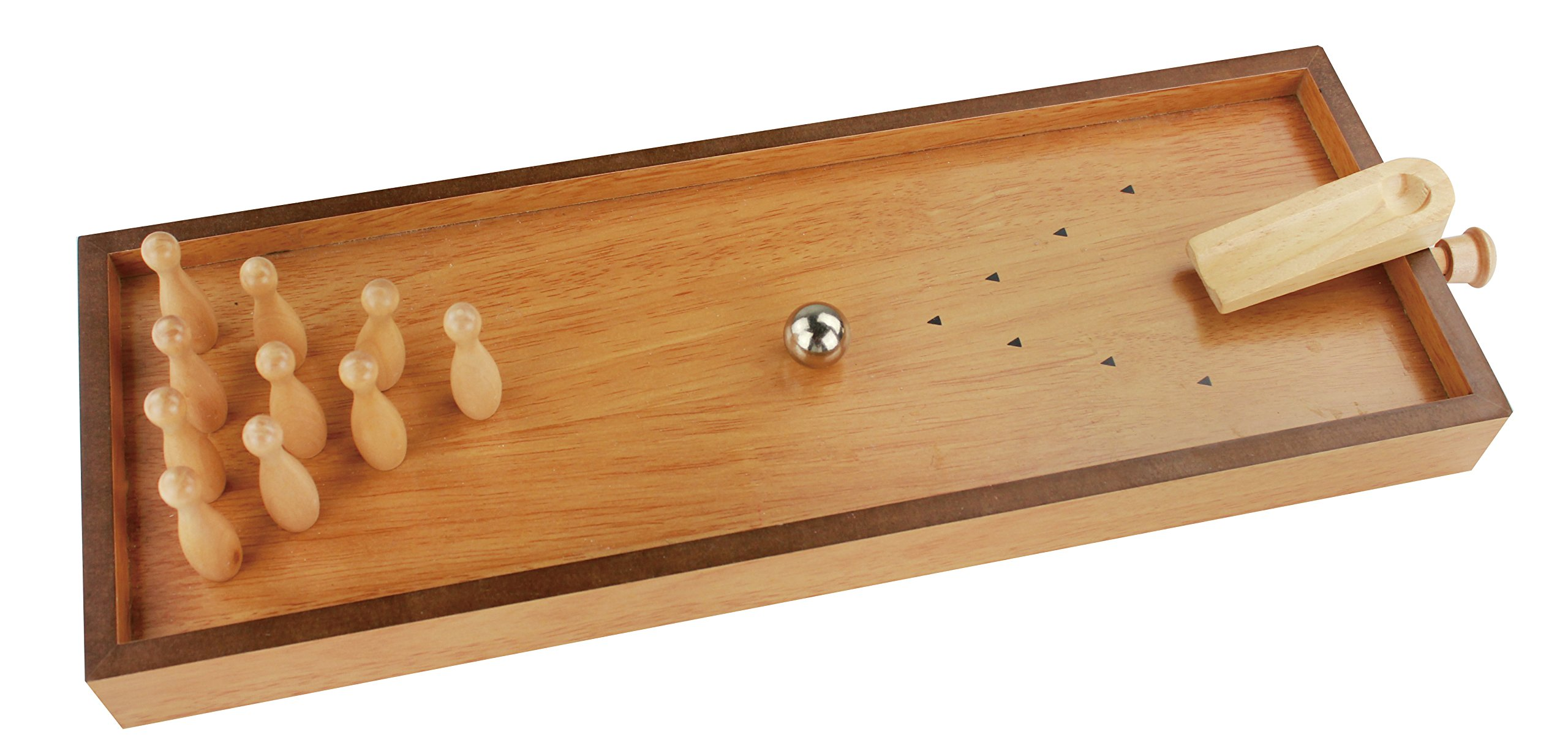 Wooden Bowling Game-Mini with built in Pin-Reset