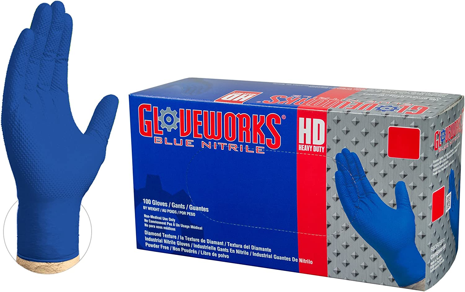 GLOVEWORKS HD Industrial Blue Nitrile Gloves - 6 mil, Latex Free, Powder Free, Diamond Texture, Disposable, XLarge, GWRBN48100-BX, Case of 1000
