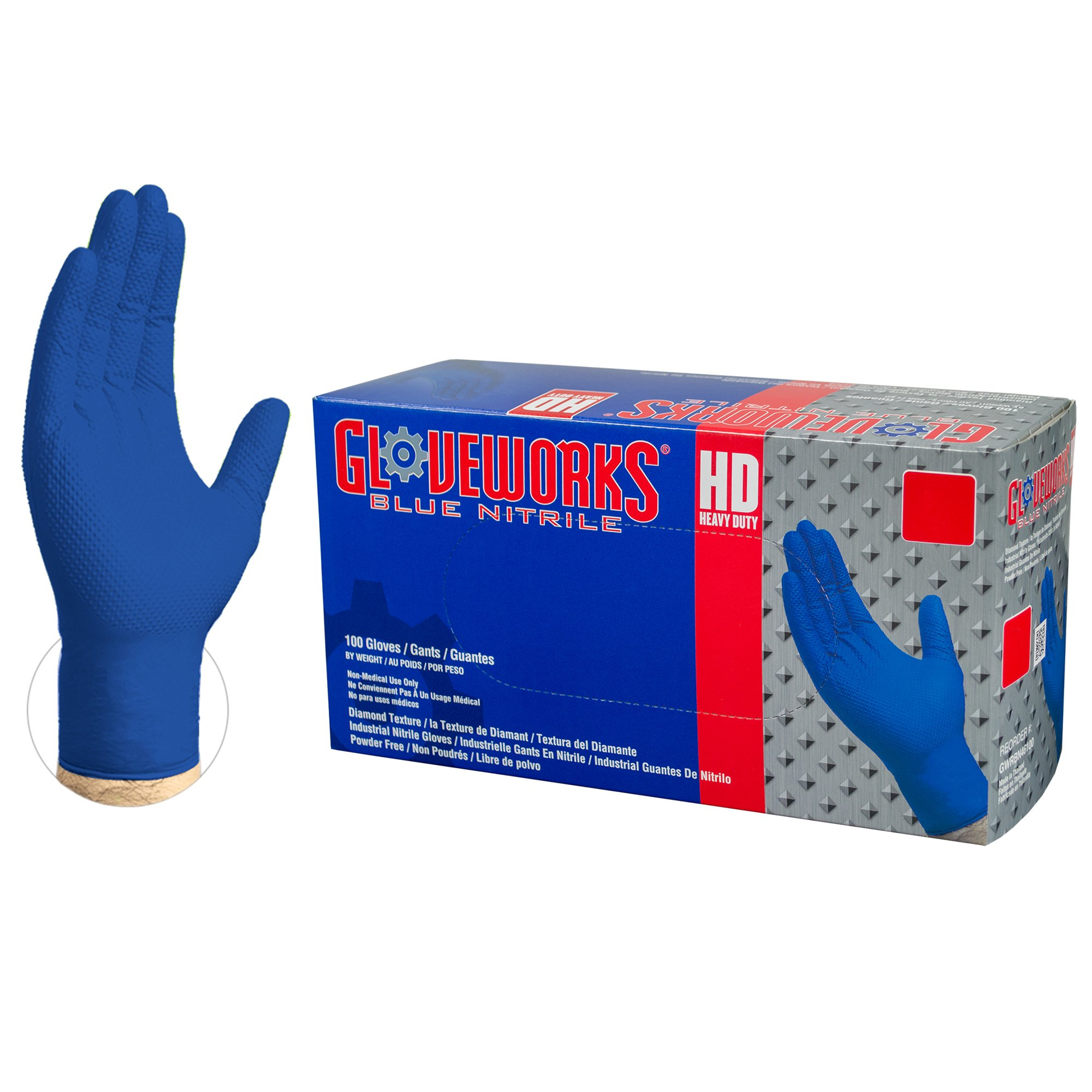 XLarge Case of 1000 5 mil Gloveworks Disposable Industrial Powder Free Blue INPF48100 Nitrile AMMEX