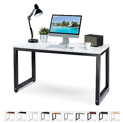 """Amazon.com: Luxxetta Office Computer Desk – 55"""" White Laminated ..."""