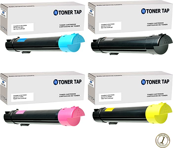 Toner Tap Dell C5765dn, Dell C5765 Compatible Toner Cartridge Replacement Set, Black, Cyan, Yellow and Magenta