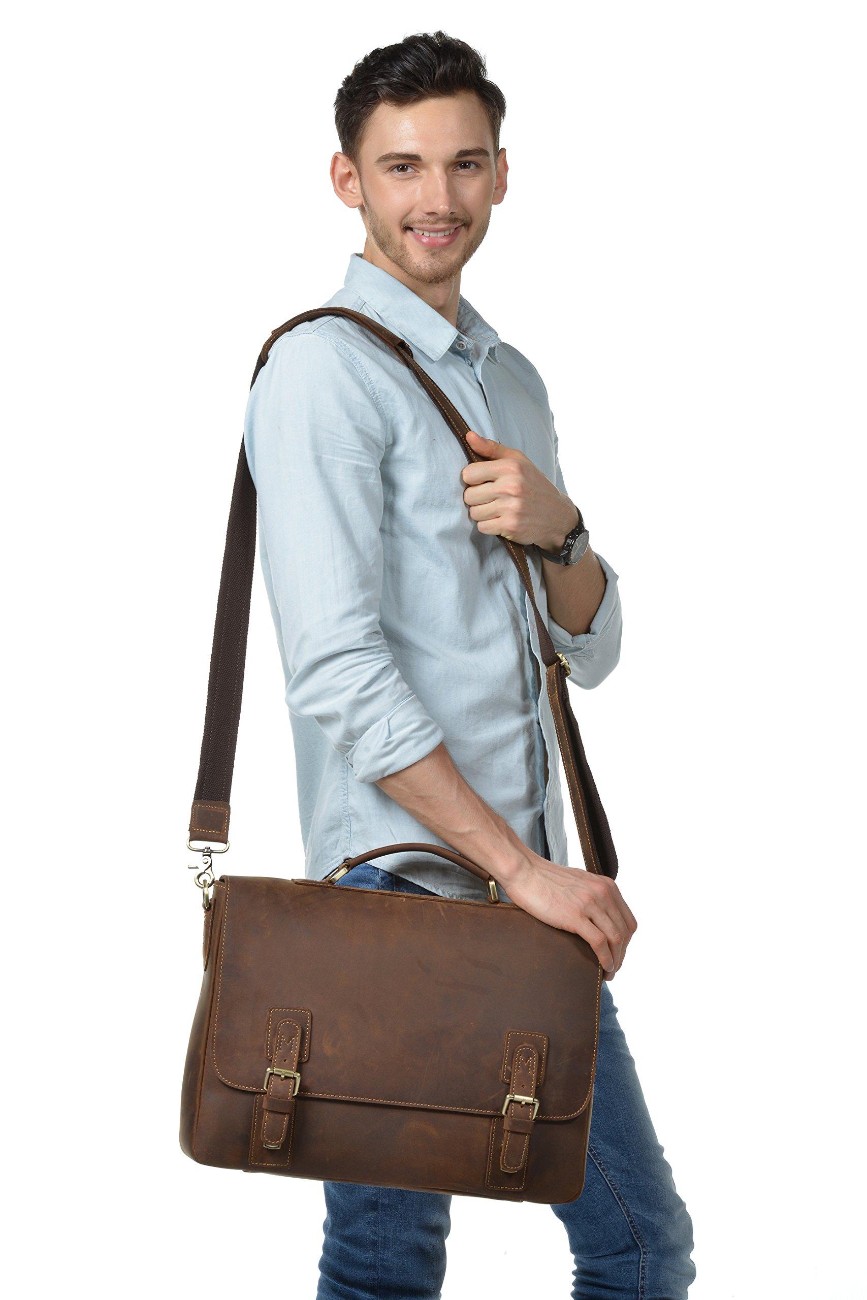 Kattee Men's Crazy Horse Leather Satchel Briefcase, 14'' Laptop Tote Bag by Kattee (Image #7)