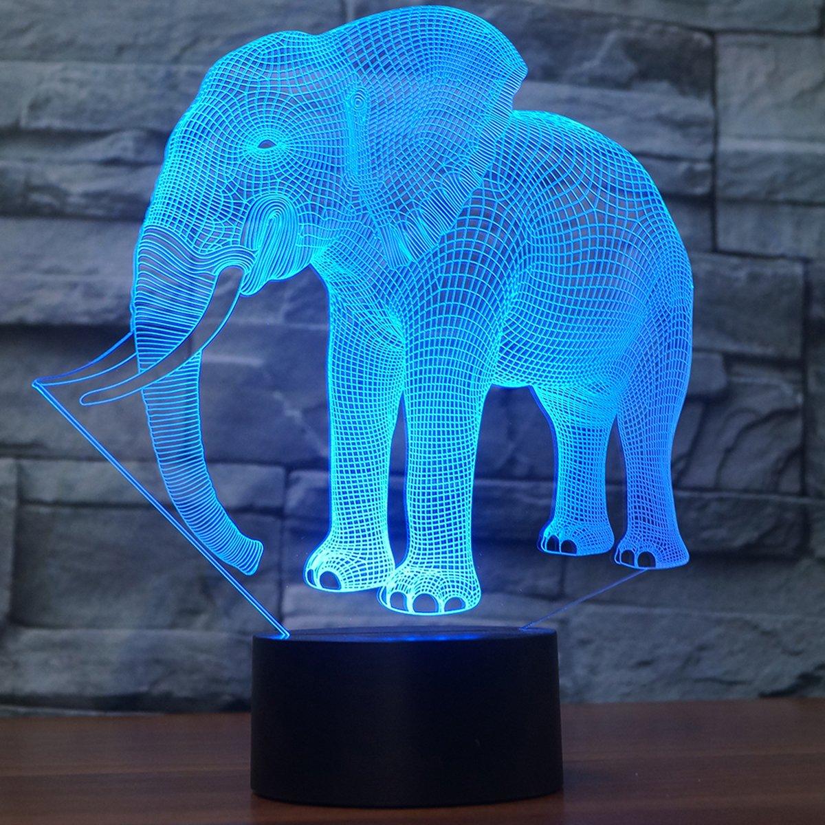 Novelty Elephant 3D Illusion Lampe Led Nachtlicht mit 7 Farben Flashing & Touch-Schalter USB Powered Schlafzimmer Schreibtischlampe für Kinder Geschenke Home Dekoration 1 8201