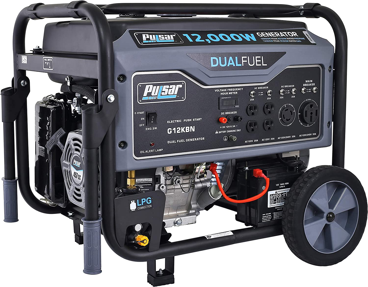 Pulsar G12KBN Heavy Duty Portable Dual Fuel Generator - 9500 Rated Watts & 12000 Peak Watts - Gas & LPG - Electric Start - Transfer Switch & RV Ready - CARB Compliant