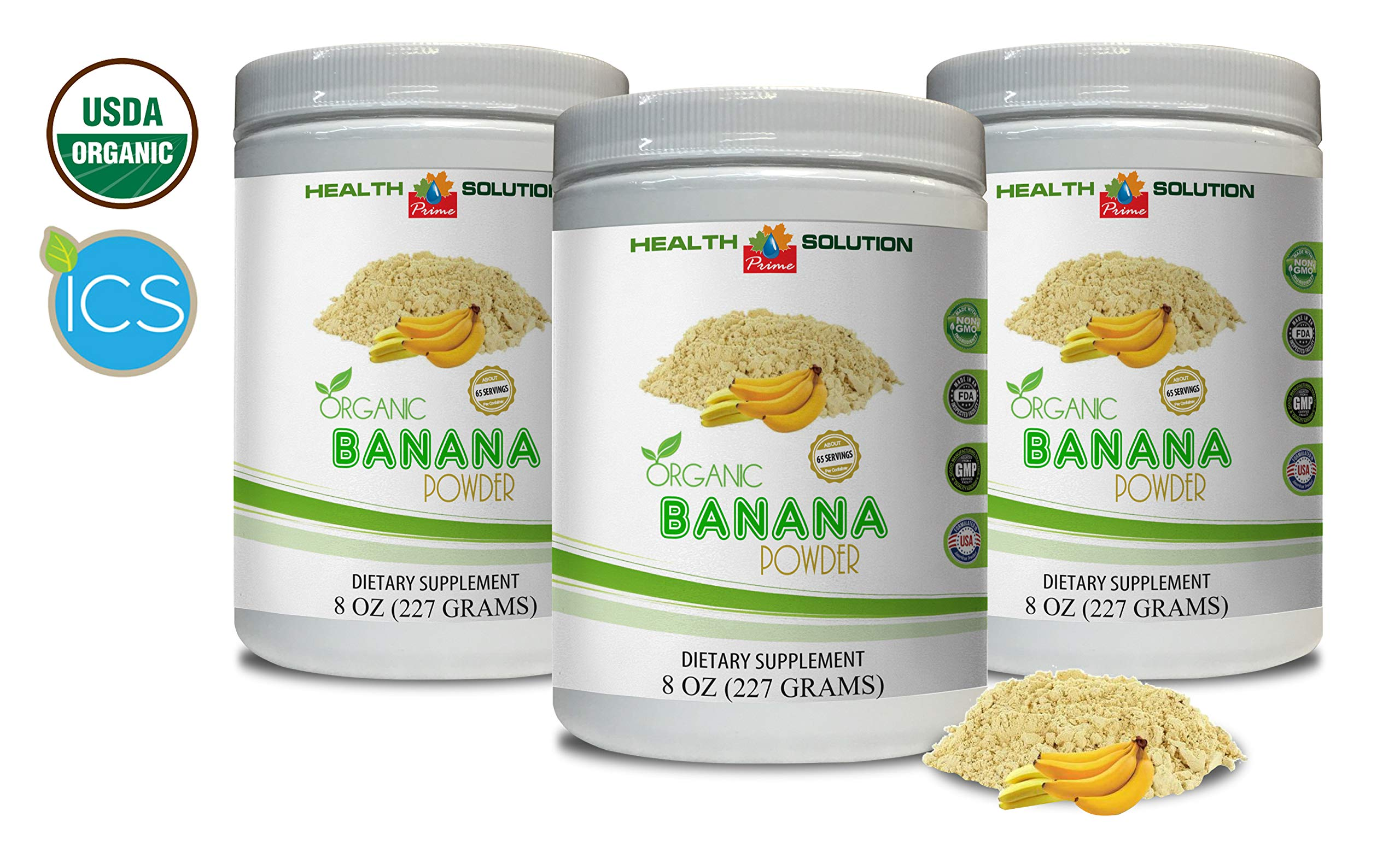 Mood Support Powder - Organic Banana Powder - Digestive Supplements - 3 Cans 24 OZ (195 Servings) by Health Solution Prime (Image #1)