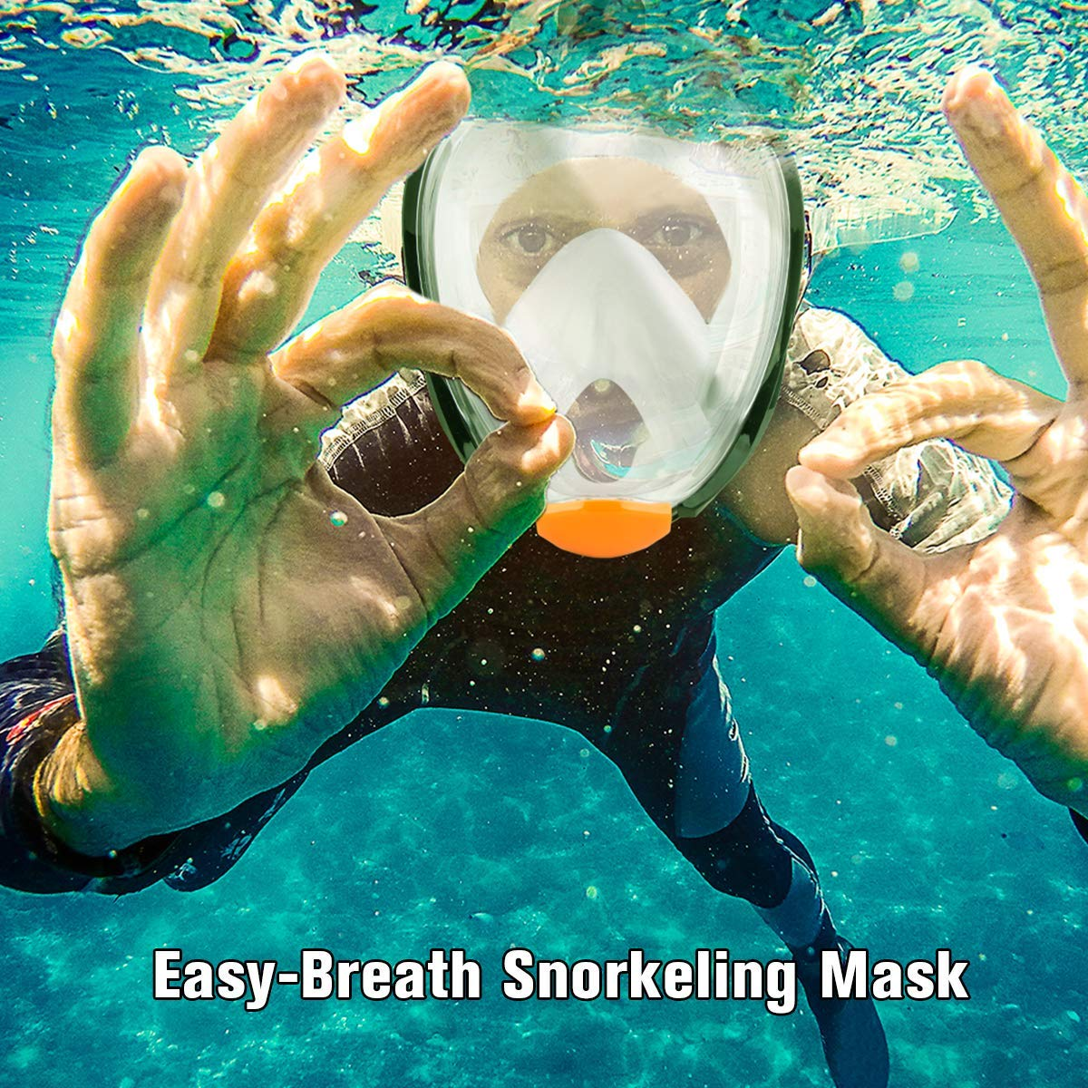 RASSE Full Face Snorkel Mask,Snorkeling Mask with Anti-Fog Anti-Leak Design and Detachable Camera Mount,Easier Breath with 180 Degree Larger View Area for Adults Youth Kids