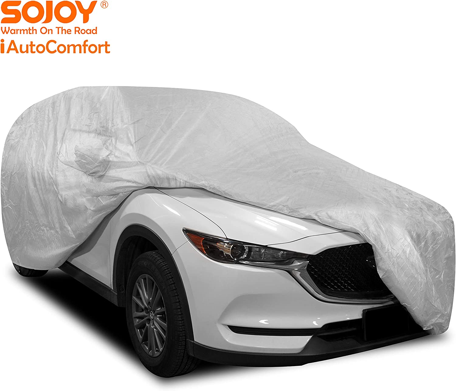 Hail//Rain//Snow//Heat Hatchback in All-Weather Coupe Sojoy Thick Multi-Layered Car Cover Anti-Hail Damage for Sedan XXL+ SUV Waterproof//Dustproof//Scratchproof UV Protection Full Cover