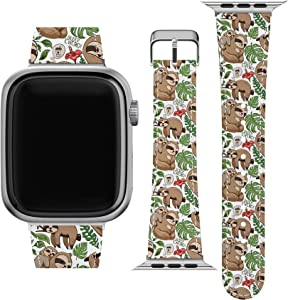 Lex Altern Band Compatible with Apple Watch Series 6 SE 5 4 3 2 1 38mm 40mm 42mm 44mm Tropical Leaves Kawaii Durable Replacement Strap for iWatch Cute Print Wristband Coffee Thin Sloth Love wh390