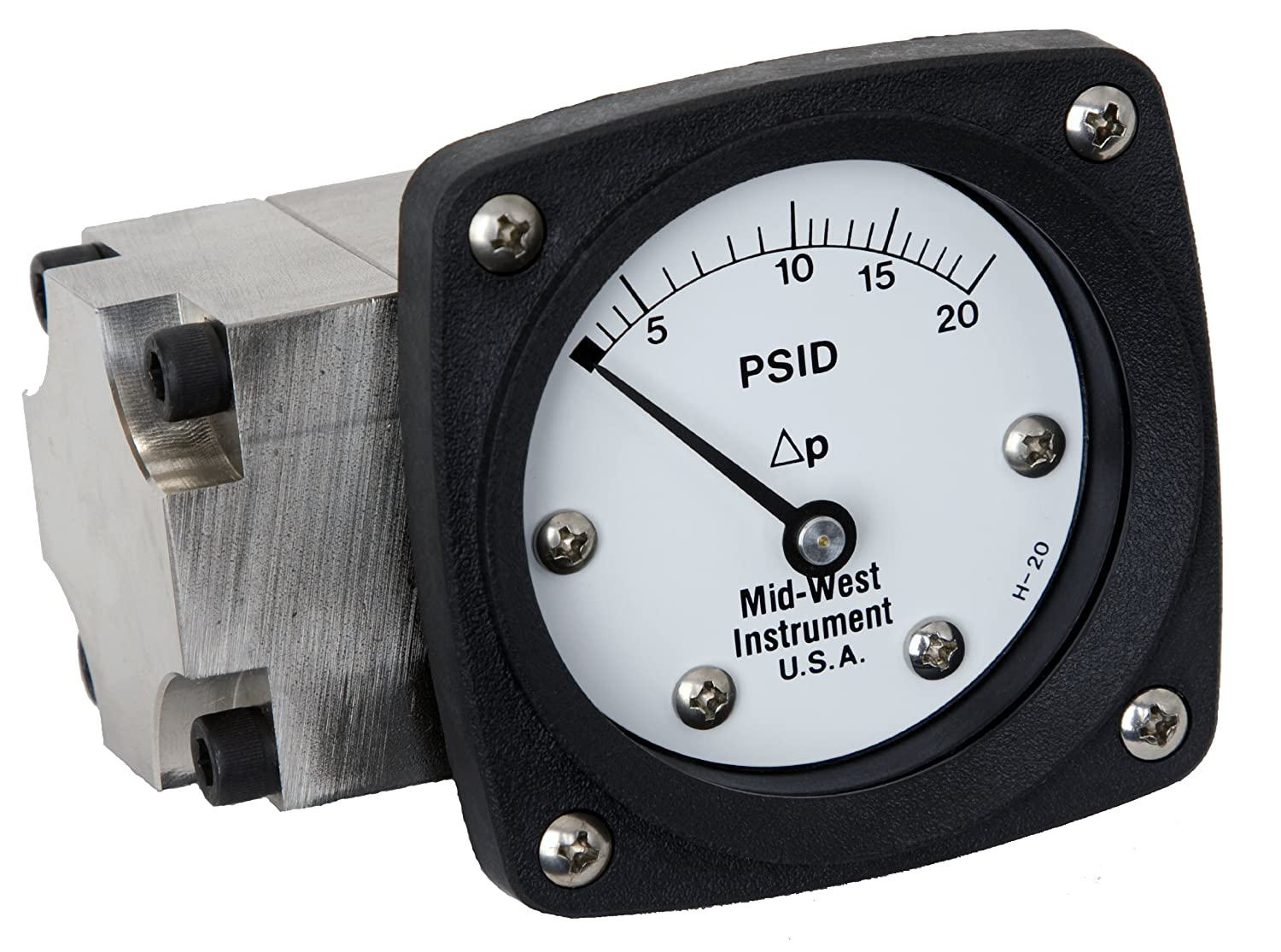 1//4 FNPT Back Connection 0-30 IN H2O Range Mid-West 142-AC-00-OO-30H Differential Pressure Gauge with Aluminum Body and 316 Stainless Steel Internals Diaphragm Type 3000 psig SWP 4-1//2 Dial 3//2//3/% Full Scale Accuracy