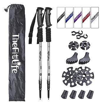 bd3acc293e TheFitLife トレッキングポール 登山用品 登山ストック ノルディックウォーキングポール - 超軽量 三段式