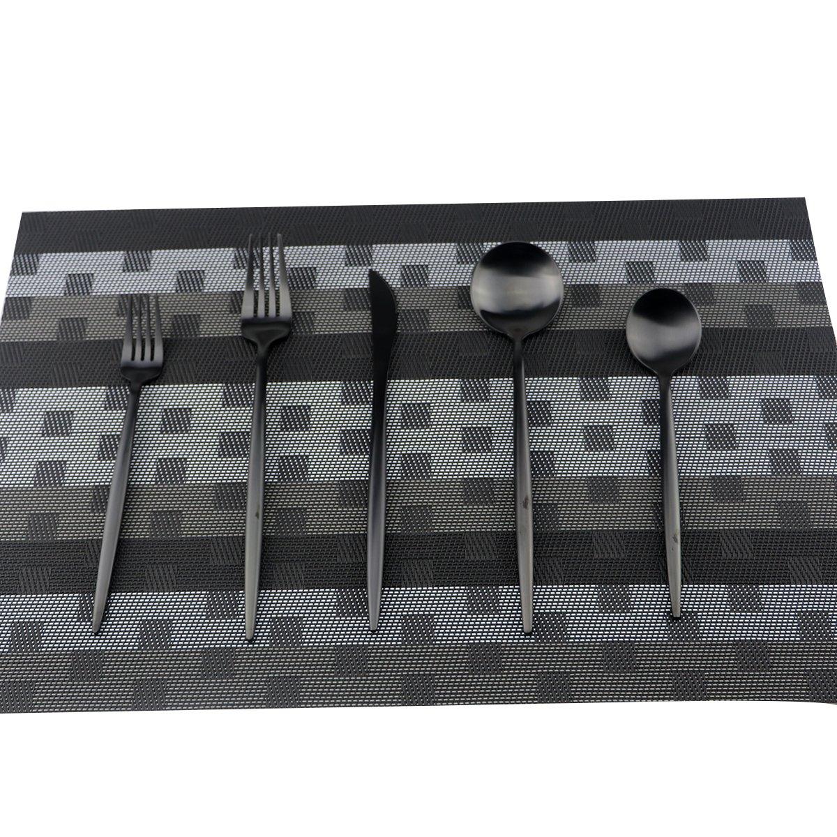 Uniturcky Flatware Set 18/10 Stainless Steel Matte Black - Kitchen Utensil Serving Set of Dinner Fork Knife Spoon Salad Fork Dessert Spoon,20 Piece Set of 4, for Home Kitchen Restaurant Hotel