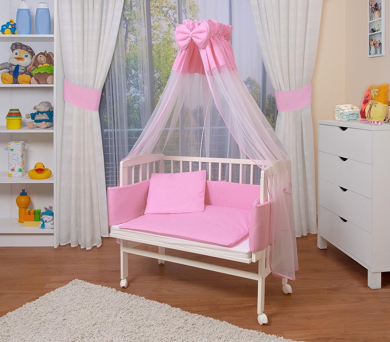 WALDIN Cuna colecho para bebé con equipamiento completo, lacado en blanco, 14 modelos a elegir a elegir,color textil rosa