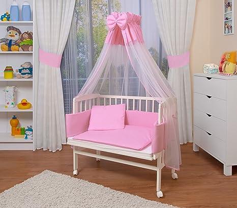 WALDIN Cuna colecho para bebé con equipamiento completo, lacado en blanco, 14 modelos a