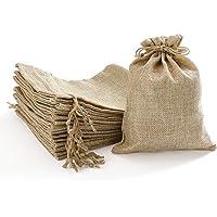 Homealexa 20 Pcs Bolsas de Lino y Cáñamo con Cordón Bolsas de Regalo para Comida Joyas Abalorios Bolsa de Lino para…