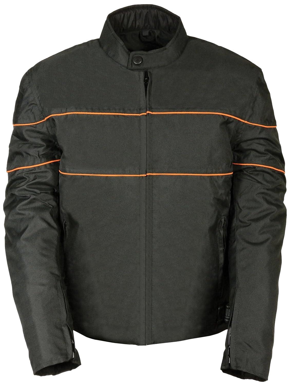 Black//Orange, Medium NexGen Mens Nylon Jacket with Zipper Vents and Reflective Piping