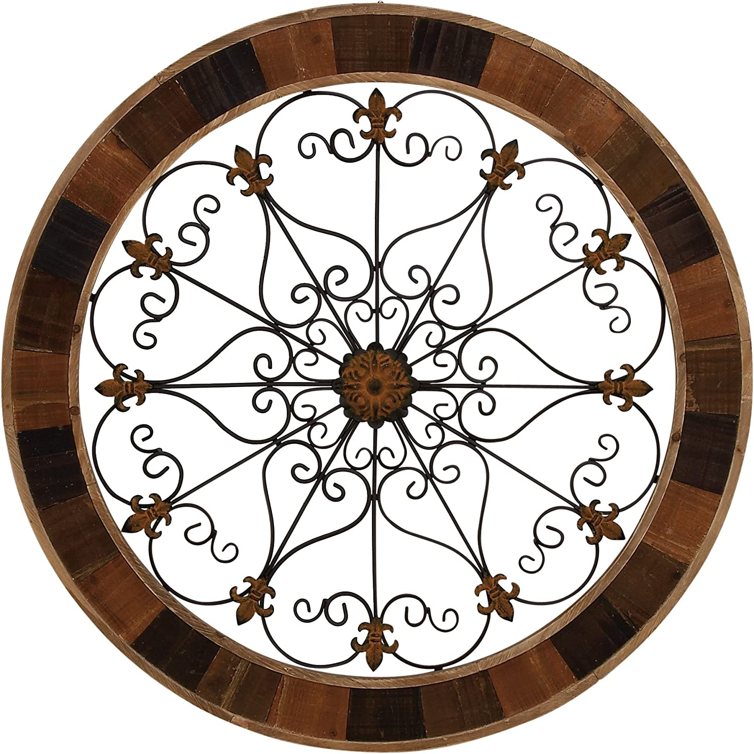 Benzara Antique Colonial Enticing Metal Wood Wall Decor, Brown, Black