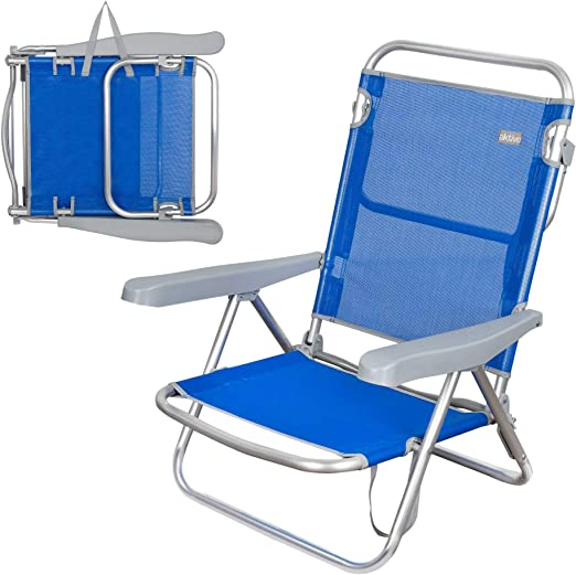 Azul marino Aktive 62607 Silla de Playa Plegable 5 Posiciones