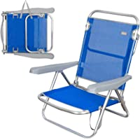 Aktive 62607 Silla de Playa Plegable 5 Posiciones, Azul marino