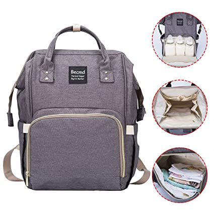 Diaper Bag,Becmd Large Capacity Diaper Bag Backpack,Multi-Function Travel Backpack Nappy Bag,Nurse bag,Fashion Mummy Bag,Waterproof for Baby Care,Stylish and Durable (Grey)