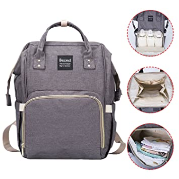 Diaper Bag,Becmd Large Capacity Diaper Bag Backpack,Multi-Function Travel  Backpack Nappy