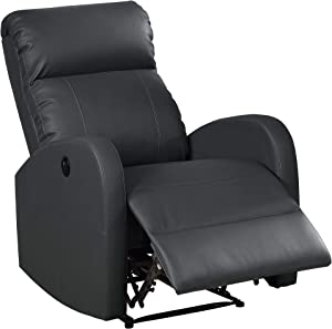 Sean Modern Leather Infused Small Power Reading Recliner, Black