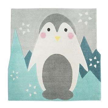 Banquise Tapis enfant 80x80cm motif pingouin Bleu - Alinea ...