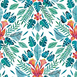 Cat Coquillette Tropical Peel and Stick Wallpaper, blue, orange