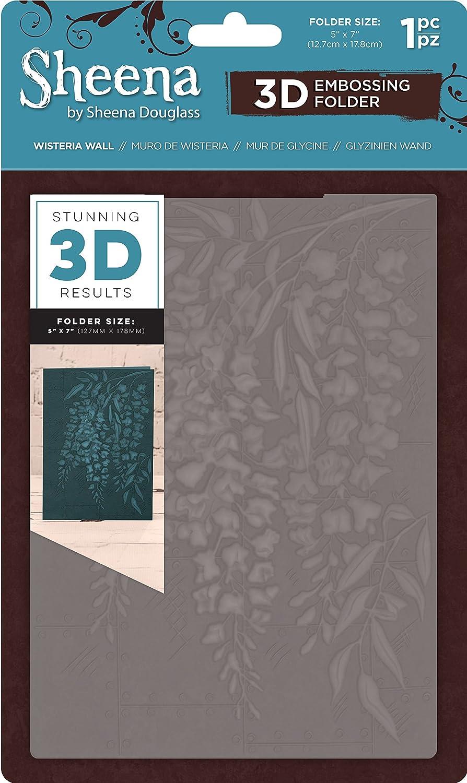 Sheena Douglass 3D Embossing Folder 5x7-Wisteria Wall, 15 x 0.6 x 25.1 cm Crafter's Companion SD-EF5-3D-WIWA