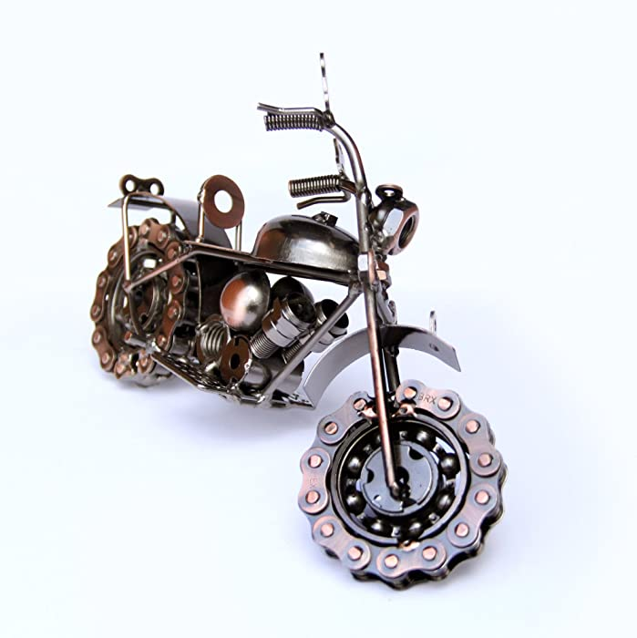 Trebisky Collectible Art Sculpture Die Cast Harley Davidson Scrap Metal Motorcycle (Copper Chopper)
