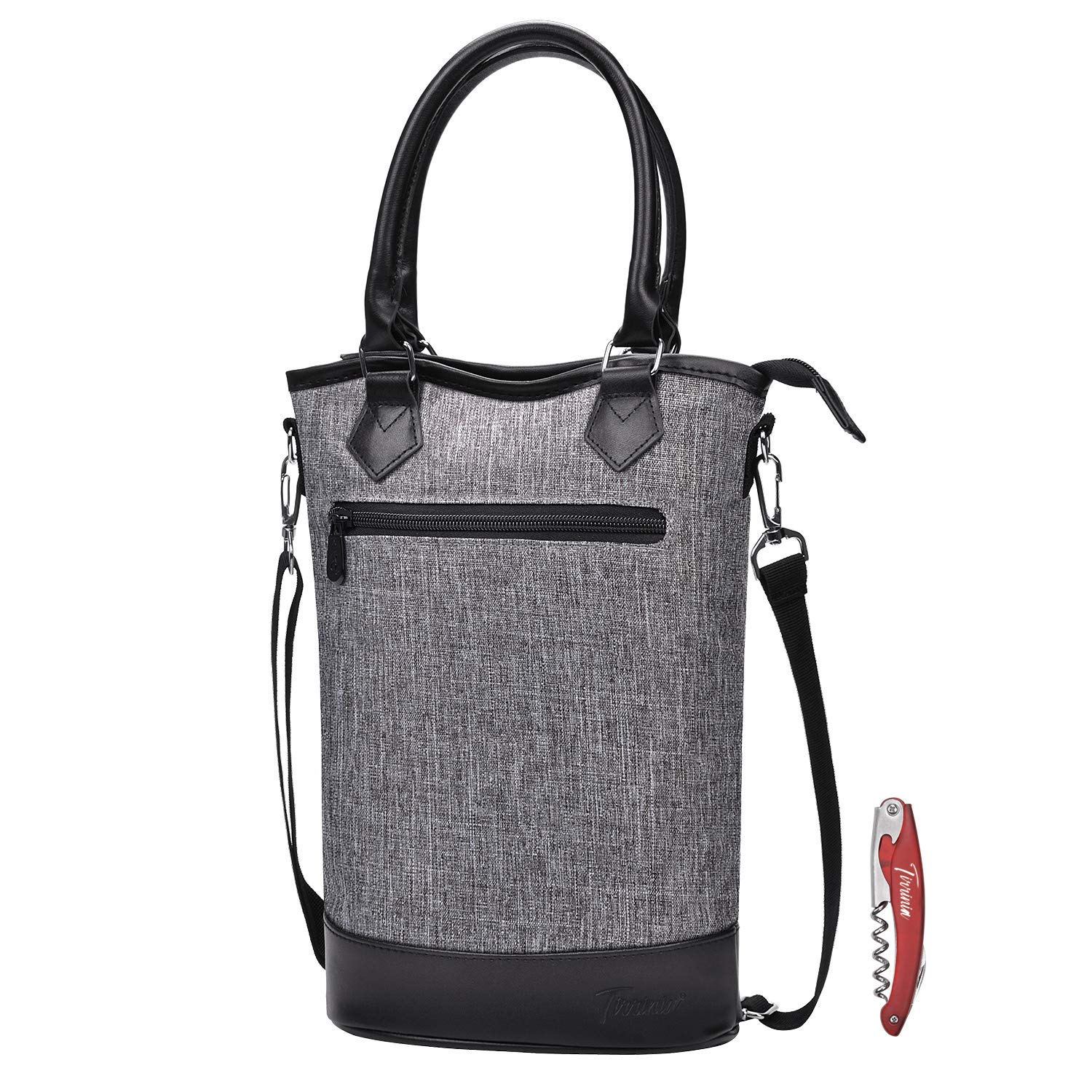 Tirrinia Insulated Wine Carrier Tote - Travel Padded 2 Bottle Wine/Champagne Cooler Bag with Handle and Adjustable Shoulder Strap + Free Corkscrew, Great Wine Lover Gift, Grey