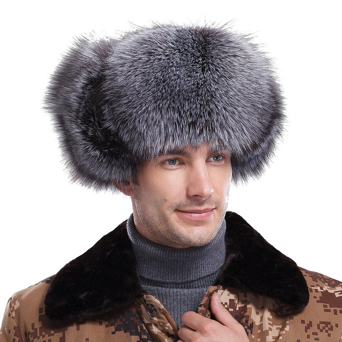URSFUR Men's Silver Fox Fur & Leather Trapper Hats Natural Color