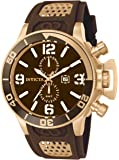 Invicta Men's Quartz Watch with Brown Dial Chronograph Display and Brown PU Strap 10506